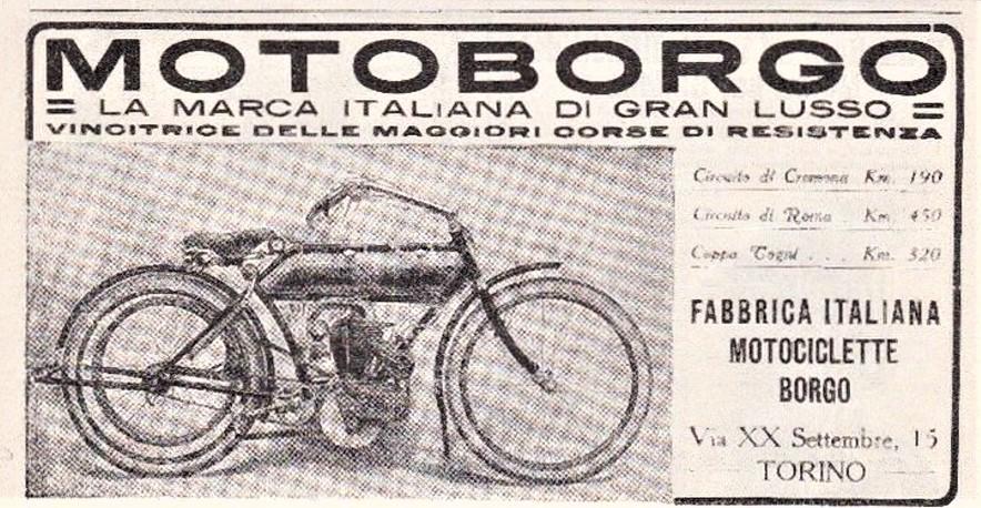 """Motoborgo 500 bicilindrica In una pubblicità del periodo dove doveva essere chiaro che fosse una moto per pochi, """"di gran lusso"""""""