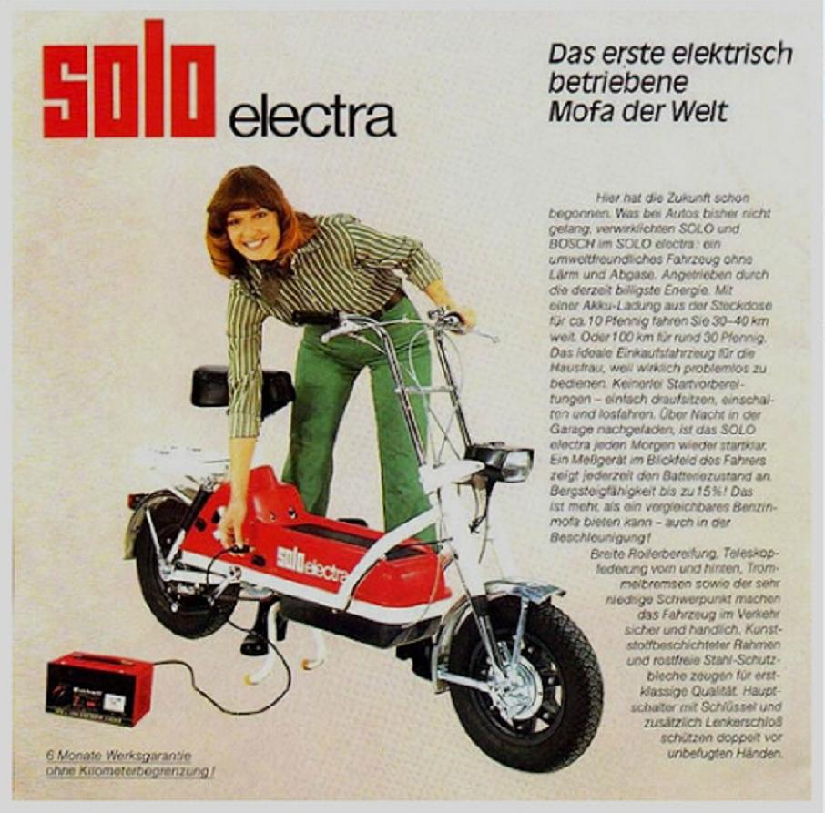 Solo Electra scooter, la brochure per il mercato tedesco.