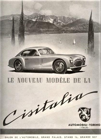 Cisitalia 202 La locandina pubblicitaria dell'epoca.