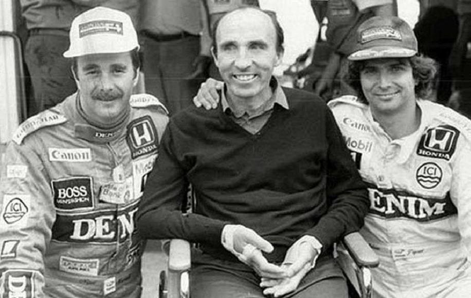 Nelson Piquet (a destra), con Frank Williams e Nigel Mansell a Brands Hatch nel 1986.