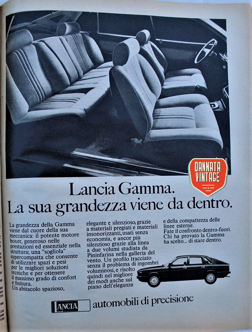 Pubblicità vintage, che classe, sempre bellissime le pubblicità Lancia.