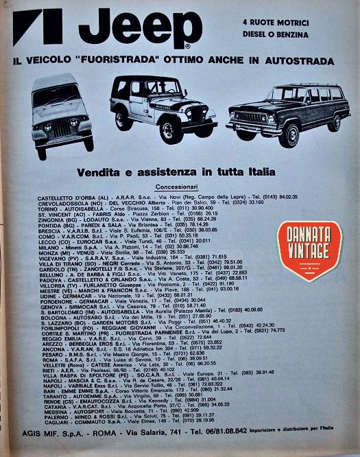Pubblicità vintage, credo che il marchio Jeep si stesse affacciando sul nostro mercato proprio allora.