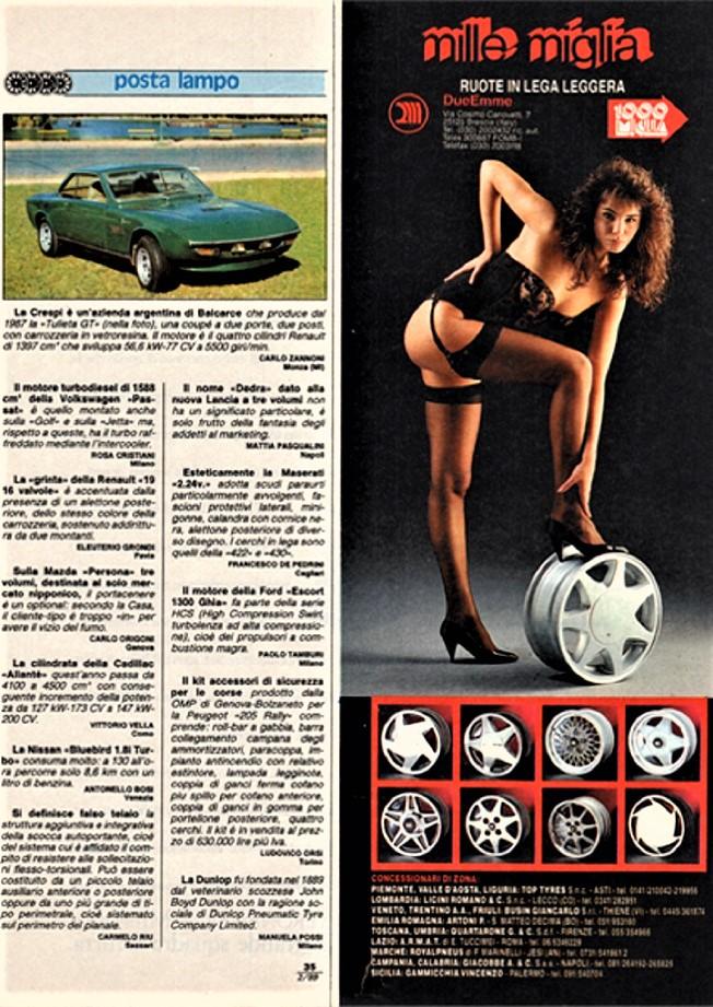 Cerchi in lega vintage Una pubblicità più recente rispetto a quella sotto, sempre dei cerchi in lega 1000 Miglia.