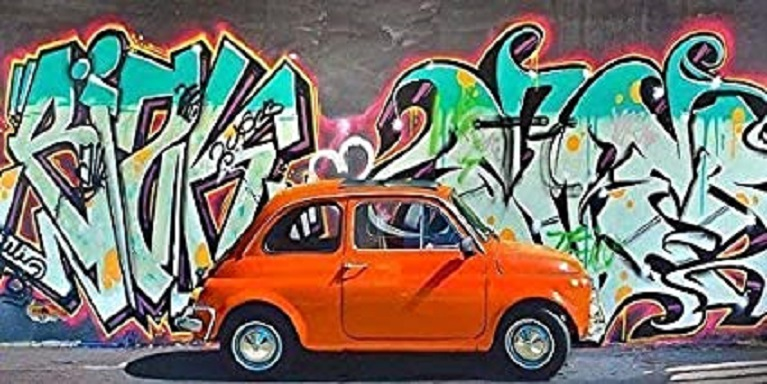 Auto e street art Rahmen-Kunst Stretched Canvas Picture.