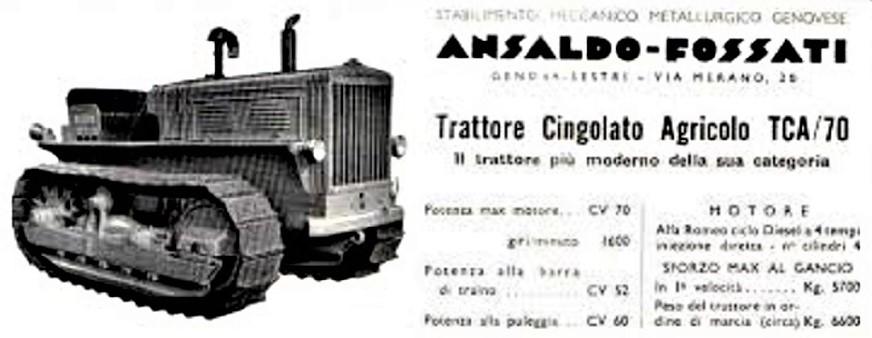 Ansaldo Fossati TCA 70 Brochure con indicate le caratteristiche del trattore cingolato.