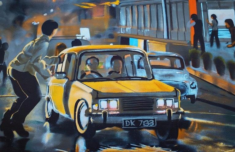 Auto e street art Pedone ed auto.