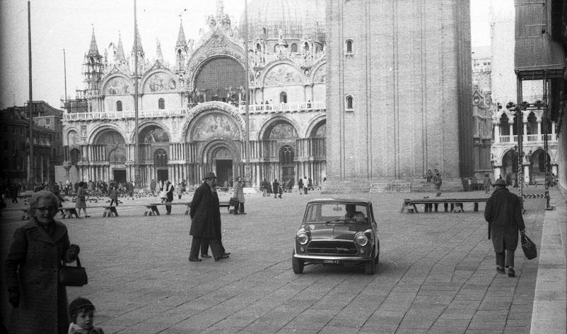 Foto in bianco e nero Venezia, Piazza San Marco vintage.