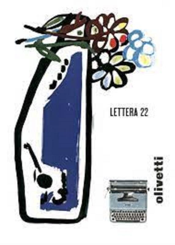 Anni 50 e il design italiano, Locandina pubblicitaria di Giovanni Pintori per la macchina per scrivere portatile Lettera 22,