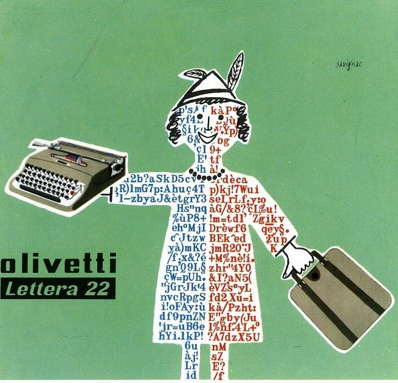 Anni 50 e il design italiano, Manifesto pubblicitario disegnato nel 1954 da Raymond Savignac per la macchina per scrivere portatile Lettera 22.