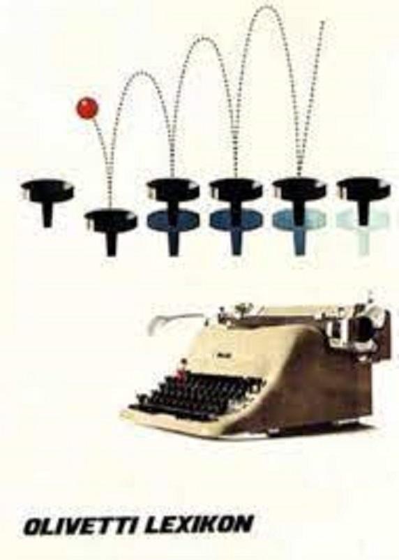 Anni 50 e il design italiano, Manifesto pubblicitario disegnato nel 1955 da Giovanni Pintori, graphic designer, per la macchina per scrivere Lexikon 80.