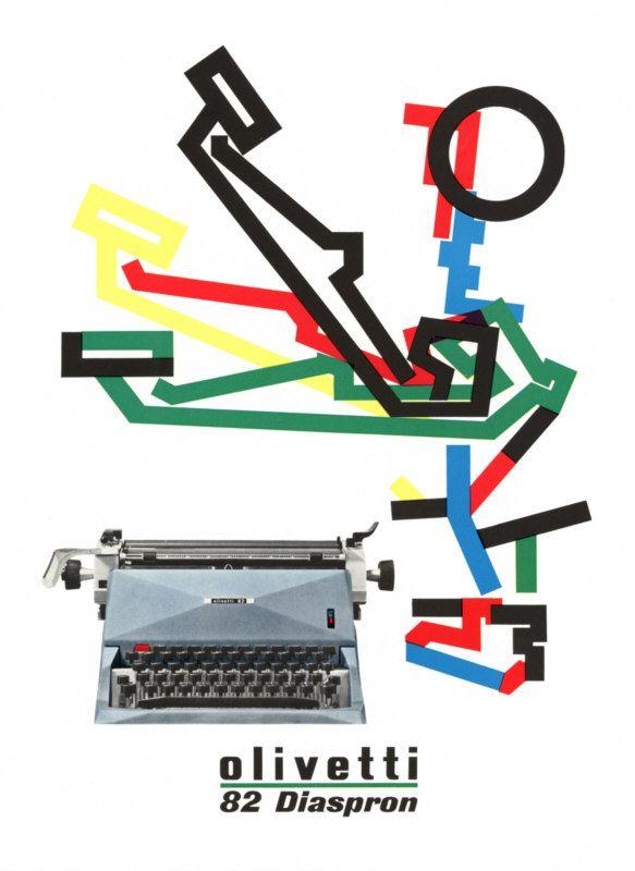 Anni 50 e il design italiano. Pubblicità Olivetti 82 Diaspron, disegnata nel 1955 da Giovanni Pintori, graphic designer.