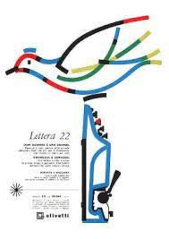 Anni 50 e il design italiano, Locandina pubblicitaria di Giovanni Pintori, graphic designer, per la macchina per scrivere portatile Lettera 22, pubblicata su riviste e quotidiani italiani nel 1959 e nel 1960.