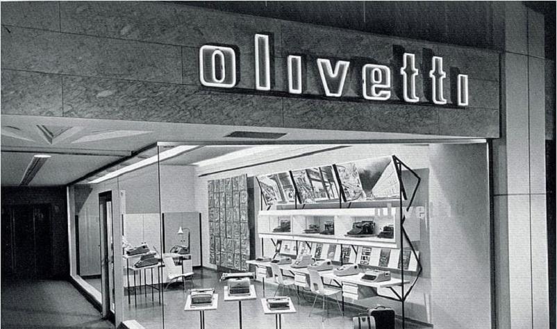 Anni 50 e il design italiano, Un negozio Olivetti.
