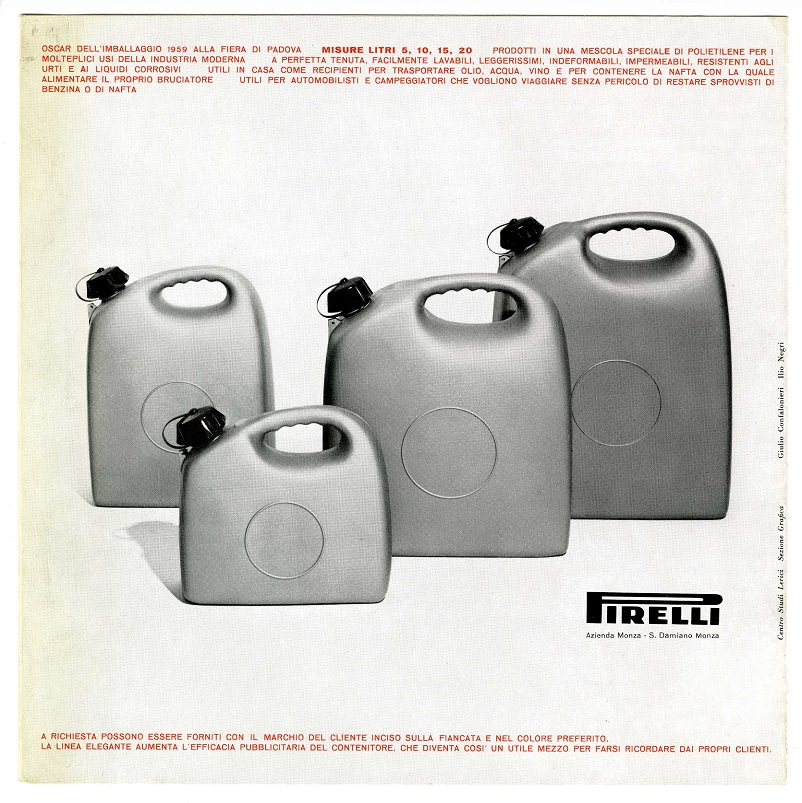 Anni 50 e il design italiano, Roberto Menghi tanica per benzina Pirelli 1958.