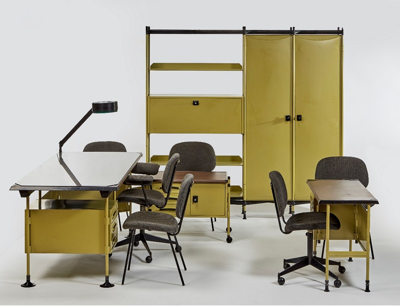 Anni 50 e il design italiano, BBPR Arredamento completo per ufficio, Olivetti anni 50.