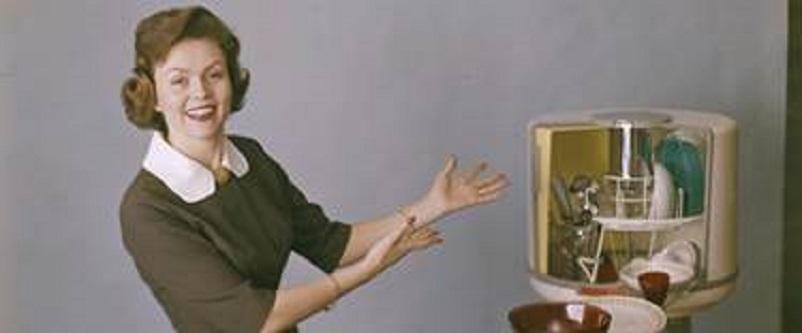 """Anni 50 e il design italiano, Eletrolux, la lavastoviglie D10, soprannominata """"La bacinella tonda"""" 1959."""