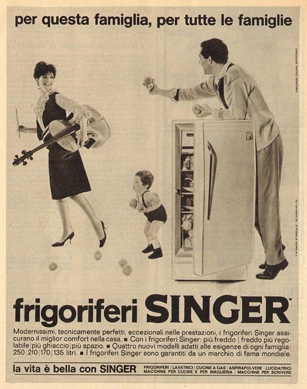 Anni 50 e il design italiano, Un frigorifero proposto dalla Singer alla fine degli anni 50.