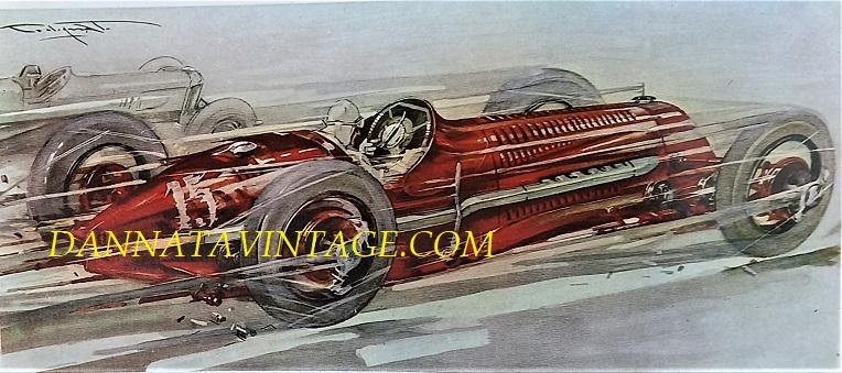 """Si correva, sempre una Fiat ma la 806 in un disegno realizzato dal pittore Codognato, era una dodici cilindri su due file affiancate guidata da Bordino che nel GP di Monza del 1927 vinse nella categoria """"vetturette""""."""