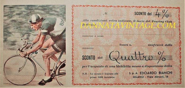 Buoni sconto vintage, Scegliendo una delle 100 biciclette previste nella promozione, tipo uomo o donna, nei più recenti modelli che la Soc. BIANCHI mette a disposizione.